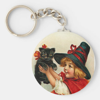 Vintage Little Witch and Black Cat Keychain