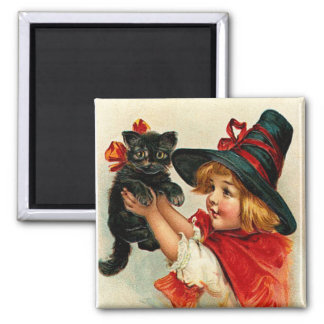 Vintage Little Witch and Black Cat Magnet