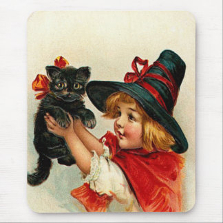 Vintage Little Witch and Black Cat Mouse Pad