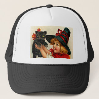 Vintage Little Witch and Black Cat Trucker Hat