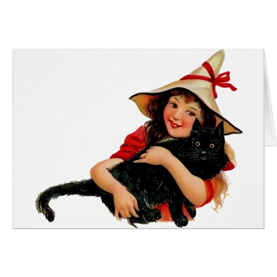 Vintage Little Witch and Cat Card