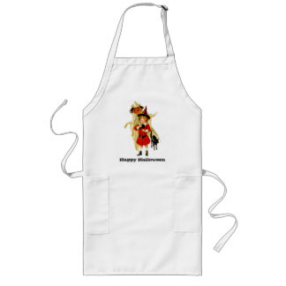 Vintage Little Witch and Cat Long Apron