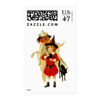 Vintage Little Witch and Cat Medium Postage