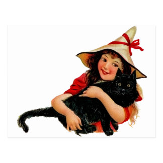 Vintage Little Witch and Cat Postcard