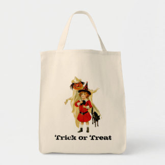 Vintage Little Witch and Cat Tote Bag