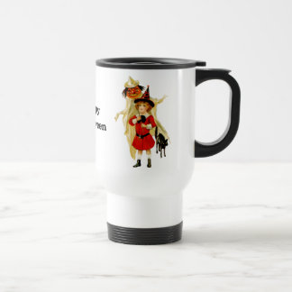 Vintage Little Witch and Cat Travel Mug