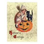 Vintage Little Witch Flight Plans Postcard