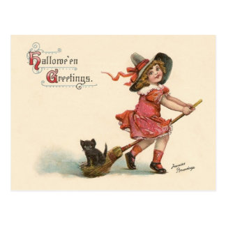 Vintage Little Witch Halloween Greetings Postcard