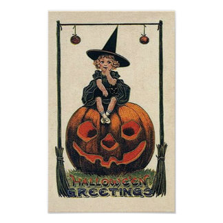 Vintage Little Witch Halloween Poster