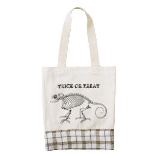 Vintage lizard skeleton Halloween bag