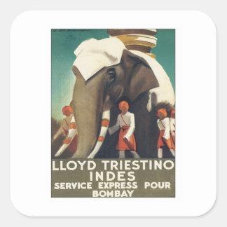 Vintage Lloyd Triestino India Square Sticker