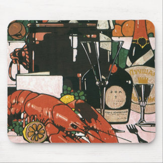 Vintage Lobster Champagne; Fancy Elegant Party Mouse Pad