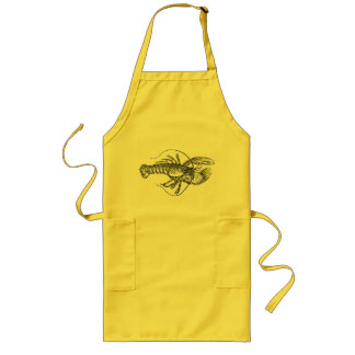 Vintage Lobster illustration Long Apron