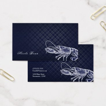 Beach Themed Vintage Lobster Navy Blue Elegant Sea Food Custom Business Card