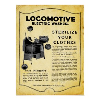 Vintage Locomotive Electric Clothes Washer Print