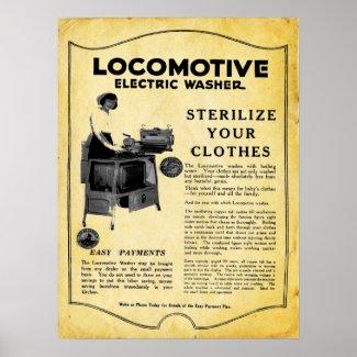 Vintage Locomotive Electric Clothes Washer Print