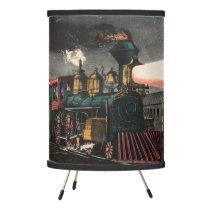 Vintage Locomotive Night Express - Boys Room Train Tripod Lamp