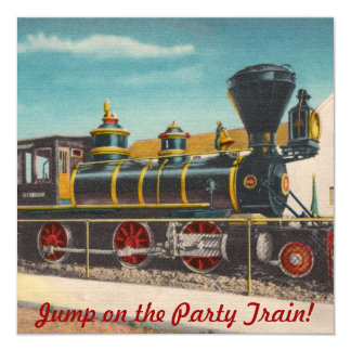 Vintage Locomotive Party Invitation