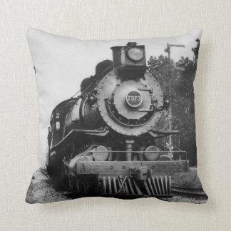 Vintage Locomotive Steam Engine 7373 Railroad Throw Pillow