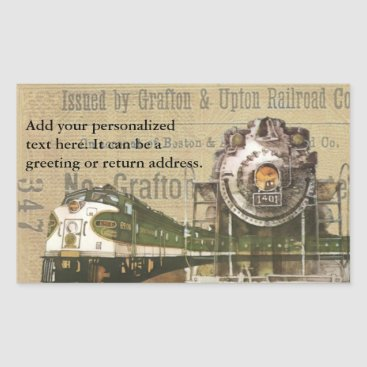 Beach Themed Vintage Locomotive Train Railroad Return Address Rectangular Sticker