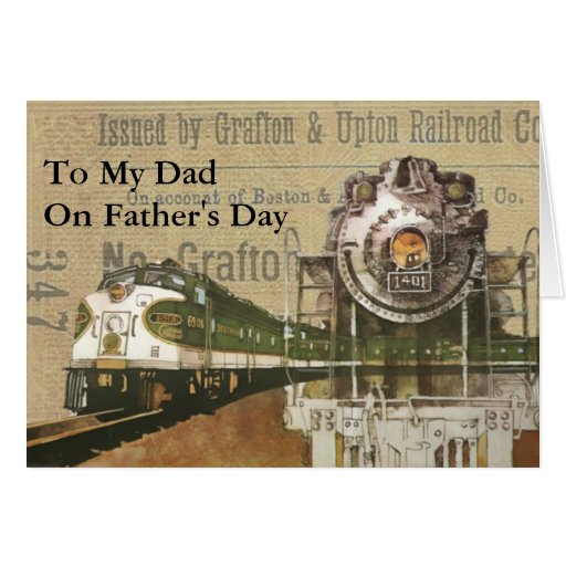 Vintage Locomotive Train Steam Engine Father's Day Card