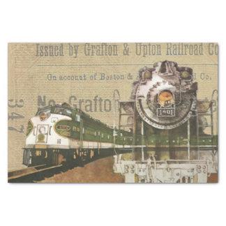 Vintage Locomotive Train Steam Engine Railroad Tissue Paper