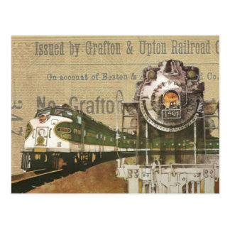 Vintage Locomotive Train Steam Engine Steampunk Postcard