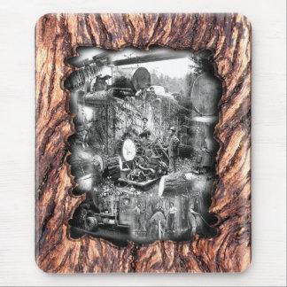 Vintage logging photograph mouse pad