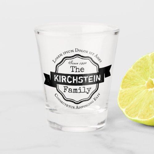Vintage Logo Name Address Family Ribbon Award Shot Glass