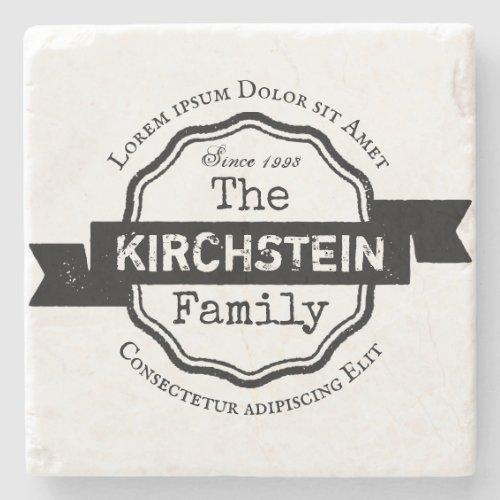 Vintage Logo Name Address Family Ribbon Award Stone Coaster