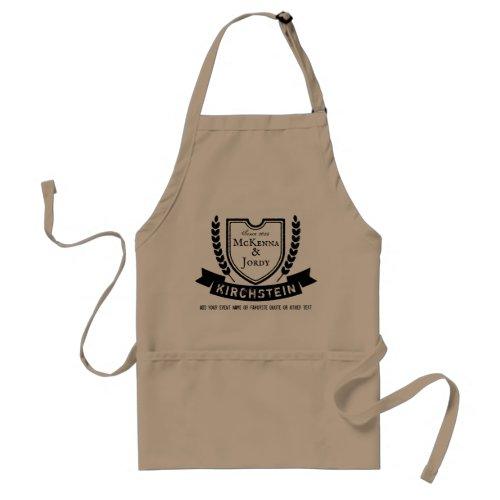 Vintage Logo Shield Laurel Ribbon Names Emblem Adult Apron