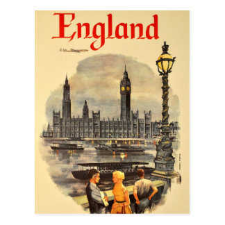 Vintage London Air Travel Big Ben Parliament Postcard