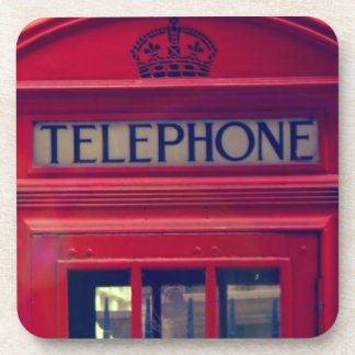 Vintage London City Red Public Telephone Booth Beverage Coaster