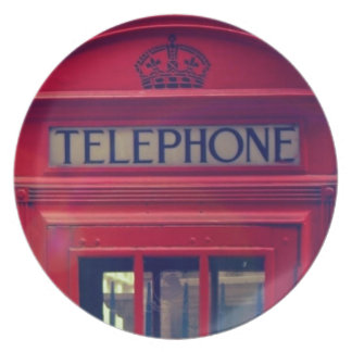 Vintage London City Red Public Telephone Booth Dinner Plate