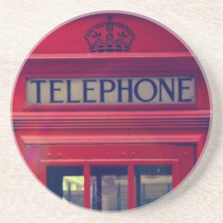 Vintage London City Red Public Telephone Booth Drink Coaster