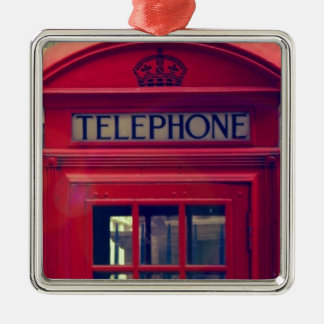 Vintage London City Red Public Telephone Booth Metal Ornament