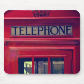 Vintage London City Red Public Telephone Booth Mouse Pad