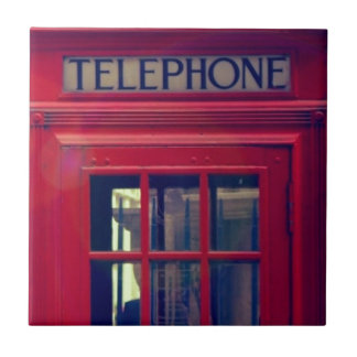 Vintage London City Red Public Telephone Booth Tile