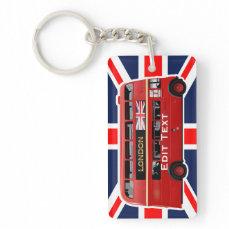 Vintage London Double Decker Bus Keychain