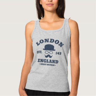 Vintage London England Bowler Hat and Mustache Tank Top