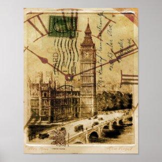 vintage london landmark landscape big ben poster