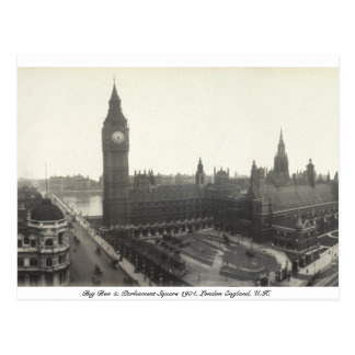 Vintage London Parliament Square, Big Ben 1904 Postcard
