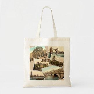Vintage London Postcards Collage Canvas Bags