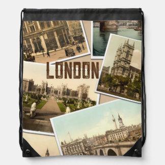 Vintage London Postcards Collage Backpacks