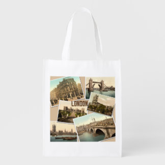 Vintage London Postcards Collage Grocery Bags