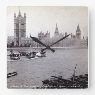 Vintage London steamboat, Houses of Parliament Square Wall Clock