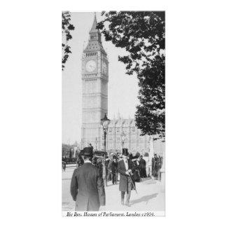 Vintage London street scene, Big Ben Clock Tower Card