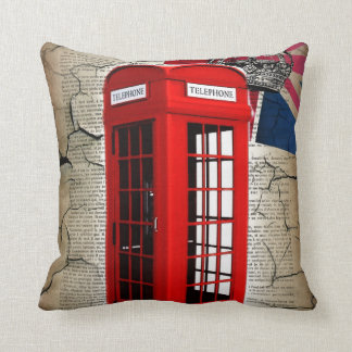vintage london  telephone booth british fashion throw pillows