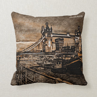 Vintage London Tower Bridge In Rainy Day Drawing Throw Pillow