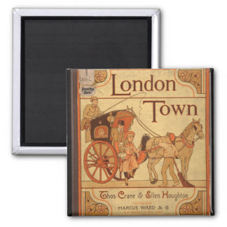 Vintage - London Town 2 Inch Square Magnet
